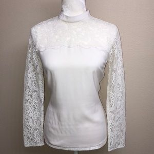 High Neck Long Sleeve Express Blouse w/ Lace